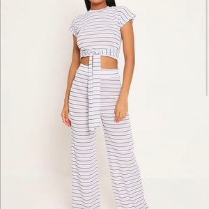 WHITE BLUE & PINK STRIPE TIE FRONT LOUNGEWEAR SET